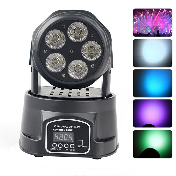 5X 75W Wash Stage Light Lighting Moving headset