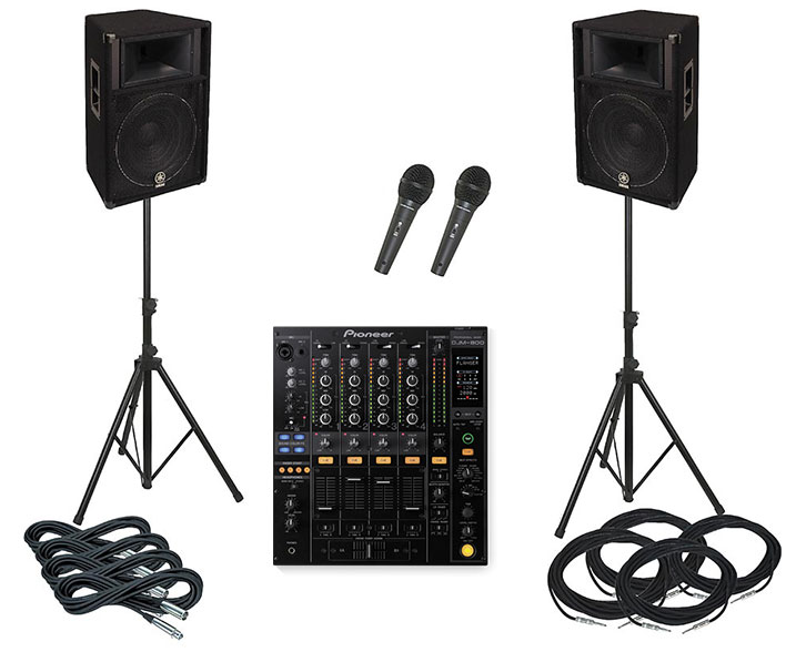 Bands packages for hire in Dublin, Ireland by sound-hire.ie, 2x 300 W speaker 6-7 channel mixer 2 microphones