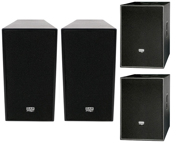 Dap 12 ACTIVE 600WATT TOP SPEAKER plus pair of DAP Audio 15 inch active bass bins