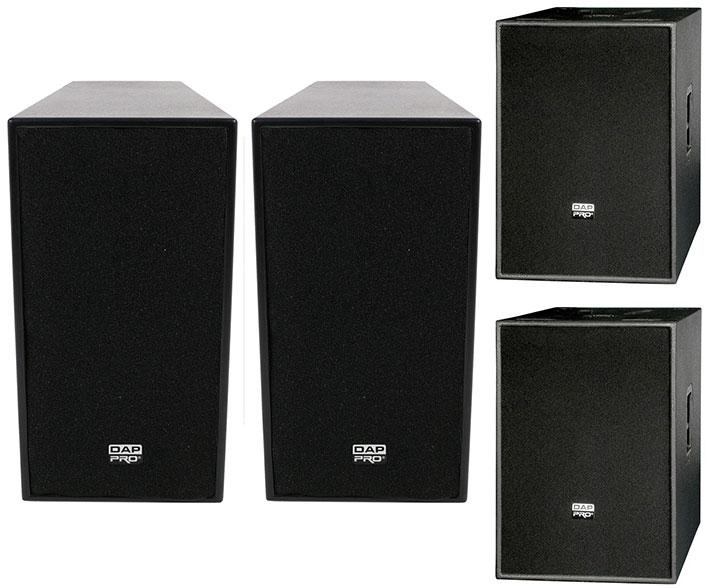Dap 12 ACTIVE 600WATT TOP SPEAKER plus pair of DAP Audio 15 inch active bass bins