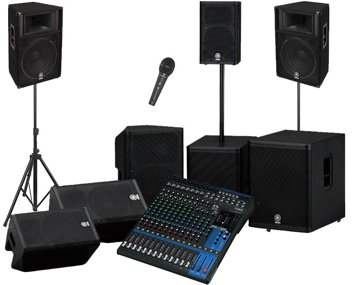 PA packages, sound systems in sound-hire.ie, professional sound for hire in Dublin, Ireland, PA System 3600 Ws 2 x 600 W TOP Speakers 4 x 600W Bass bins Necessary Amplifiers 2 x Stands 2 x disco lights 1 x Microphone CD players + €50 extra} (Pioneer RX-1 cd player mixer all in one unit)