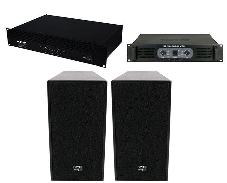 Pair of DAP 12 inch ACTIVE 600W TOP SPEAKERS plus 1200 WATTS AMP plus KAM KXR 2000 WATT AMP
