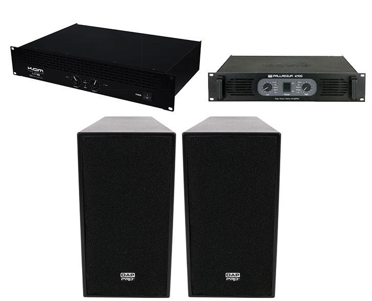 Pair of DAP 12 inch ACTIVE 600W TOP SPEAKERS plus 1200 WATTS AMP plus KAM KXR 2000 WATT AMP