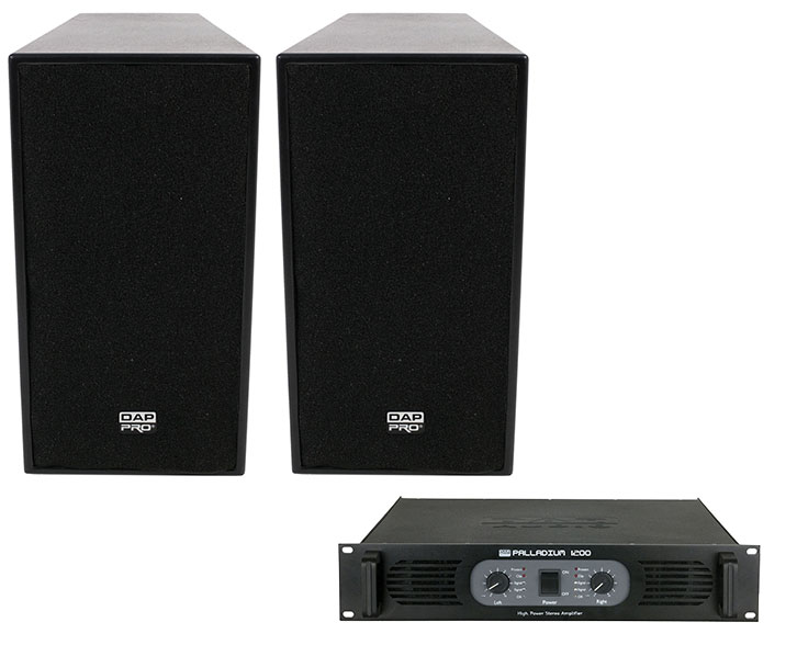 DAP Audio-12 inch 600W Active top speakers plus DAP 1200W AMP