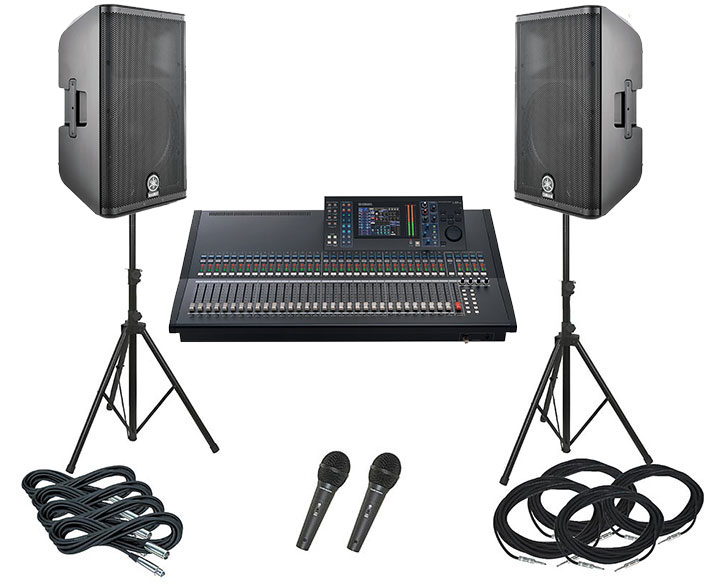2x 300 WATS speaker, 6-7 channel mixer, 2 microphones