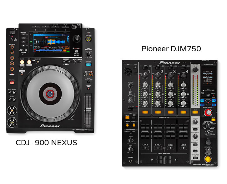 Professional DJ packages for hitre by sound-hire.ie, sound for hire in Dublin, Ireland, PAIR – PIONEER CDJ 900 NEXUS WITH PIONNER DJM750.