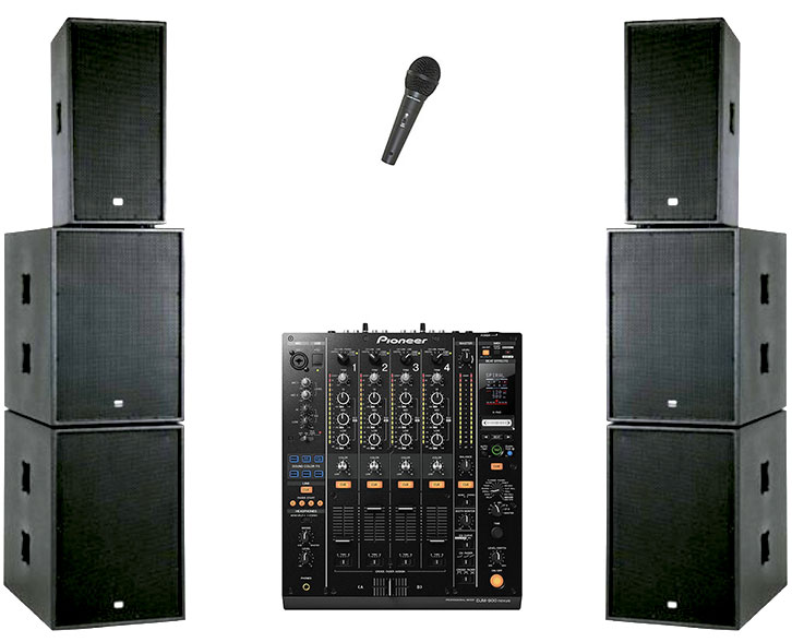 PA System 3600 Watts, 2 x 600 Watt TOP Speakers, 4 x 600W Bass bins, Necessary Amplifiers, 2 x Stands 2 x disco lights, 1 x Microphone