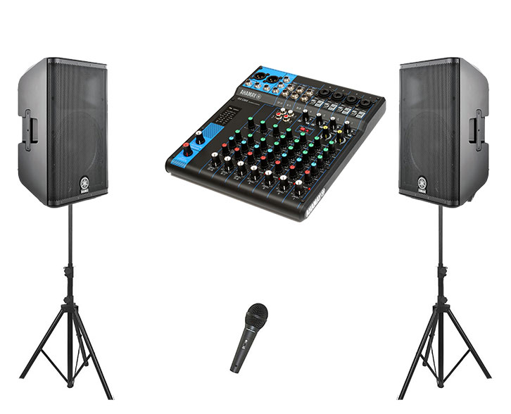 PA System 600 Watts, 2 x 300 Watt Speakers, Necessary Amplifiers, 2 x Stands, Mixing Desk, 1 x Microphone